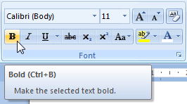Tooltips in Microsoft Office Word 2007