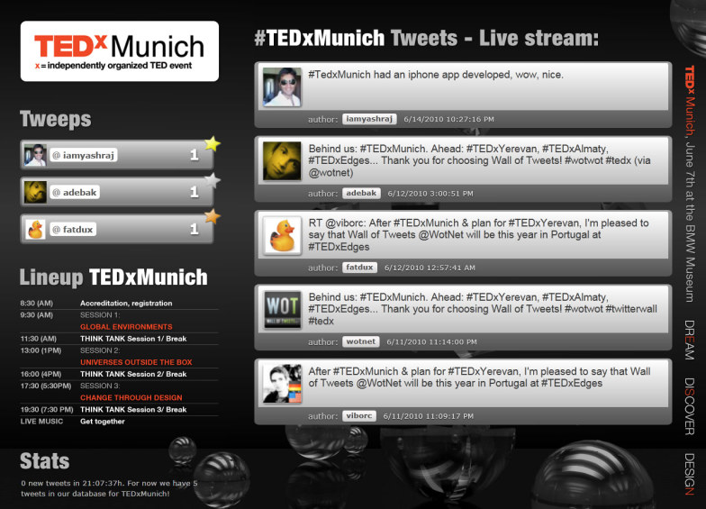 Wall Of Tweets at TEDx Munich