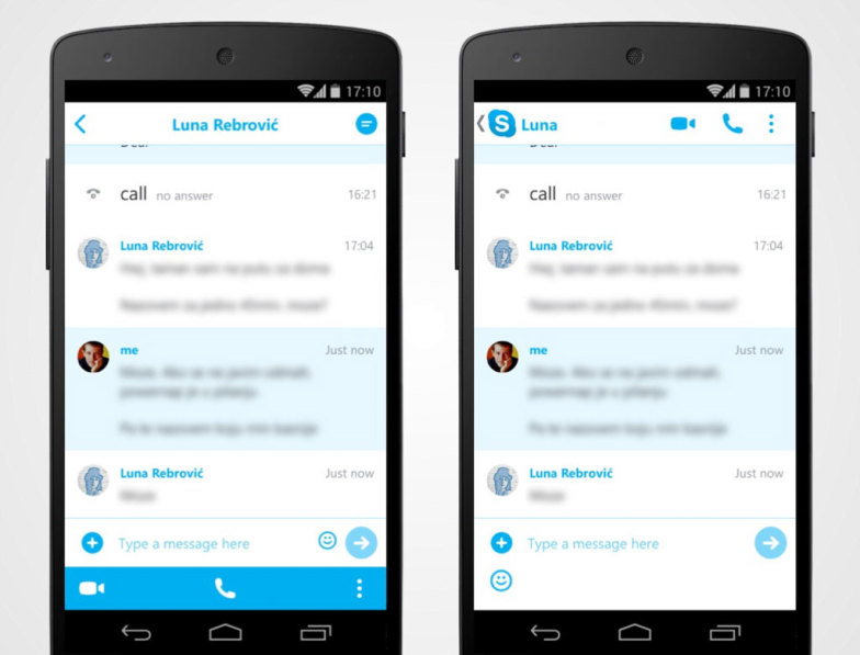 Redesigning Skype for Android Chat