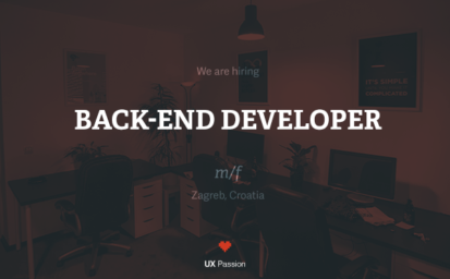 UX Passion is hiring a back-end developer