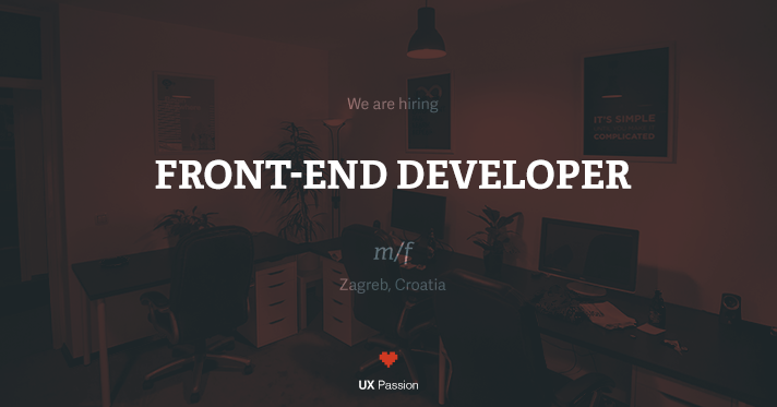 UX Passion is hiring a front-end developer